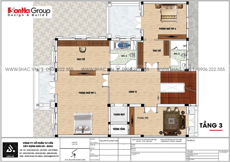 Thiết kế biệt thự lâu đài cổ điển 3 tầng 1 tum diện tích 149,5m2  xa hoa nhất Hà Nội  - SH BTLD 0040 5
