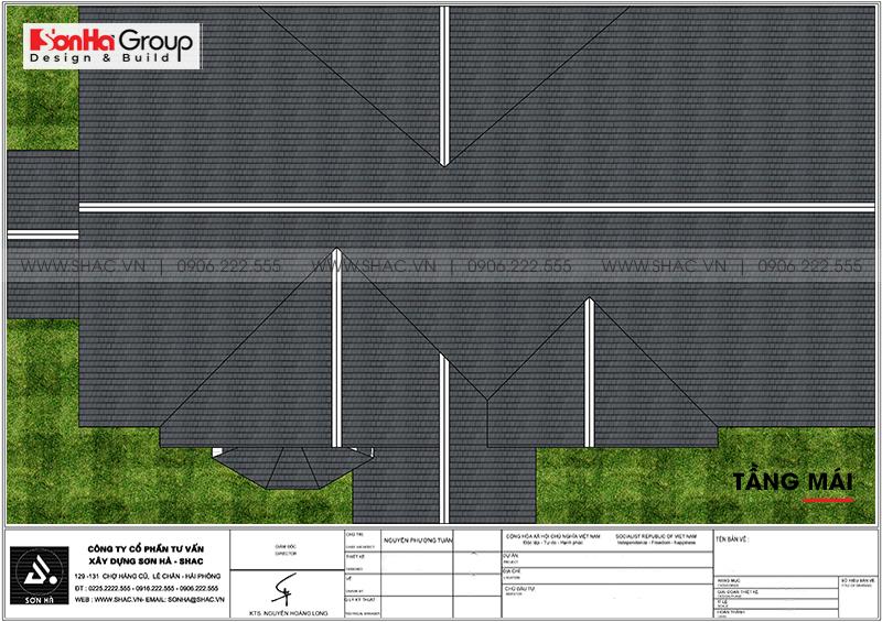 Biệt thự mái thái 1 tầng tân cổ điển diện tích 357,25m2 tại Vĩnh Long – SH BTP 0145 5