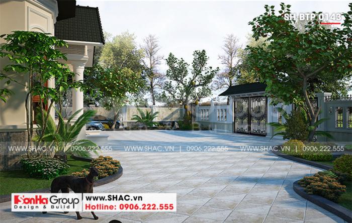 Phương án thiết kế tiểu cảnh sân vườn biệt thự tân cổ điển tại Hải Phòng được chủ đầu tư đánh giá cao