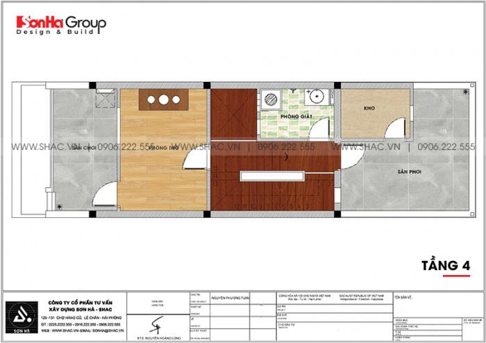 6 Bản vẽ tầng 4 nhà ống mặt tiền 4,4m tại quảng ninh sh nod 0208