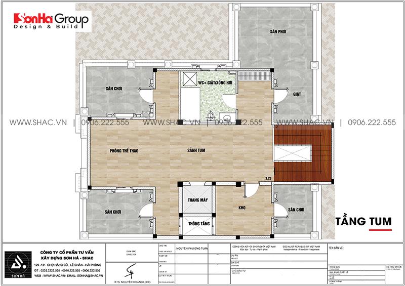 Thiết kế biệt thự lâu đài cổ điển 3 tầng 1 tum diện tích 149,5m2 xa hoa nhất Hà Nội - SH BTLD 0040 6