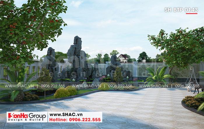 Khuôn viên sân vườn thiết kế đẹp mang đến sự thư thái cho không gian sống của gia chủ