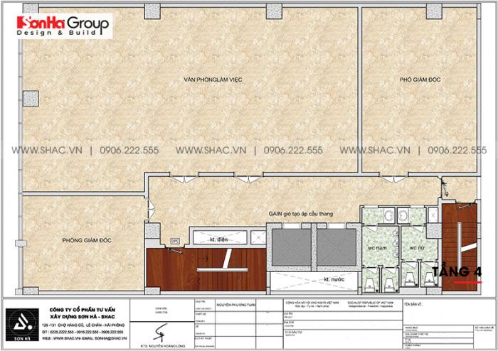 Mặt bằng công năng tầng 4 khách sạn 4 sao CN Palace Boutique Đà Nẵng