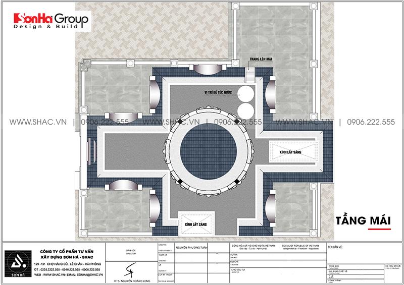 Thiết kế biệt thự lâu đài cổ điển 3 tầng 1 tum diện tích 149,5m2 xa hoa nhất Hà Nội - SH BTLD 0040 7