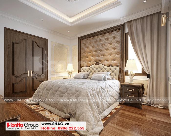 Không gian phòng ngủ master được trang trí gam màu ấn tượng đẹp mắt