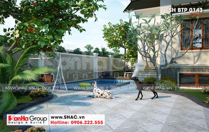 Ý tưởng thiết kế sân vườn góp phần làm nên sự hài hòa chung của tổng thể kiến trúc ngôi biệt thự