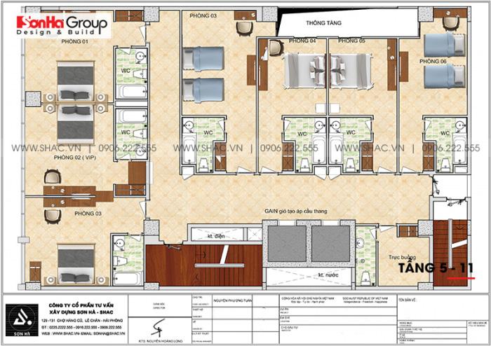 Mặt bằng công năng tầng 5 đến 11 khách sạn 4 sao CN Palace Boutique Đà Nẵng