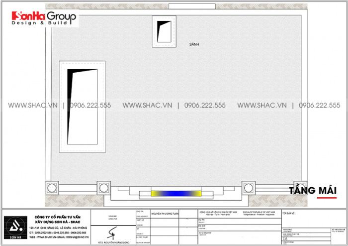 Bản vẽ mặt bằng công năng tầng mái nhà ống kết hợp kinh doanh tại Nam Định