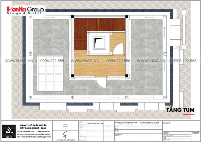 Bản vẽ chi tiết mặt bằng công năng tầng tum nhà ống cổ điển Pháp diện tích 88,35m2 tại Hải Phòng