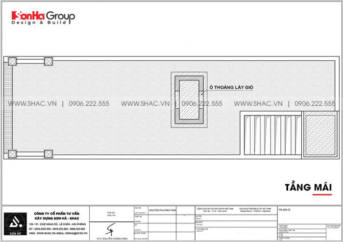 Mặt bằng công năng tầng mái nhà ống kiểu Pháp 4 tầng diện tích 5,2x20m