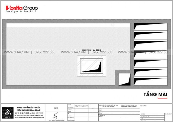 Mặt bằng công năng tầng mái nhà ống kiểu hiện đại diện tích 40m2/sàn tại Hải Phòng