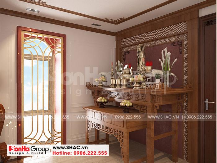 Thiết kế nội thất phòng thờ nhà ống tân cổ điển sử dụng gỗ là chủ yếu