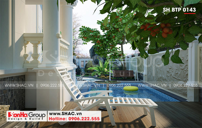 Thêm một góc view giúp bạn cảm nhận hết vẻ đẹp của tiểu cảnh sân vườn ngôi biệt thự 1 tầng mái thái khang trang tại Hải Phòng