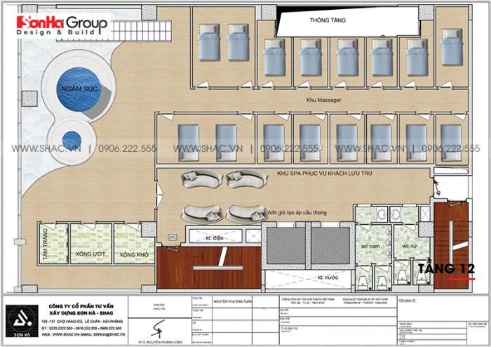Mặt bằng công năng tầng 12 khách sạn 4 sao CN Palace Boutique Đà Nẵng