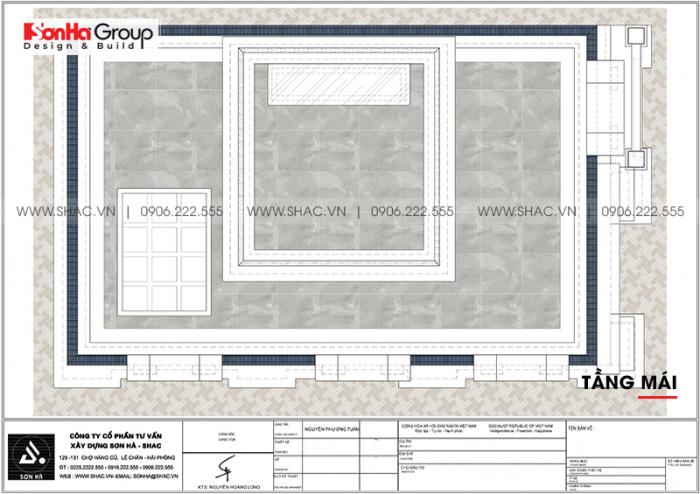 Bản vẽ chi tiết mặt bằng công năng tầng mái nhà ống cổ điển Pháp diện tích 88,35m2 tại Hải Phòng