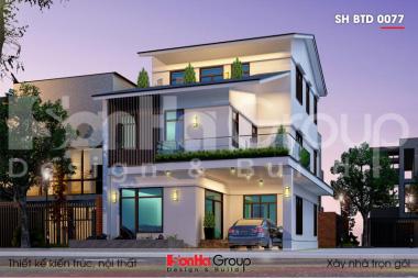 BÌA thiết kế biệt thự mái thái 3 tầng kiểu hiện đại tại quảng ninh sh btd 0077