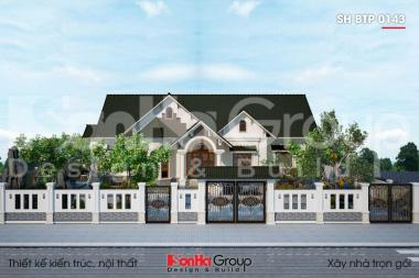 BÌA thiết kế biệt thự tân cổ điển mái thái 1 tầng có bể bơi tại hải phòng sh btp 0143