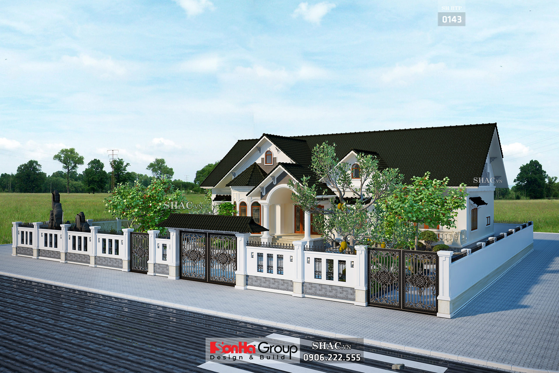 Biệt thự vườn 1 tầng diện tích 230m2 sân cổng đẹp