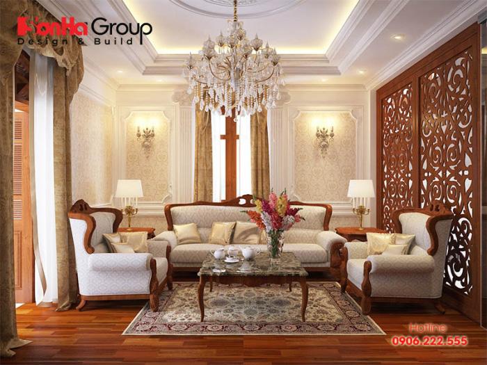 Cách bày trí phòng khách tân cổ điển Châu Âu nhẹ nhàng và hoàn hảo với nội thất gỗ đúng ý chủ nhân đặt ra