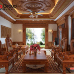 Chất liệu gỗ luôn là sự yêu thích lựa chọn trong thiết kế nội thất phòng khách đặc biệt là trong không gian sống của biệt thự