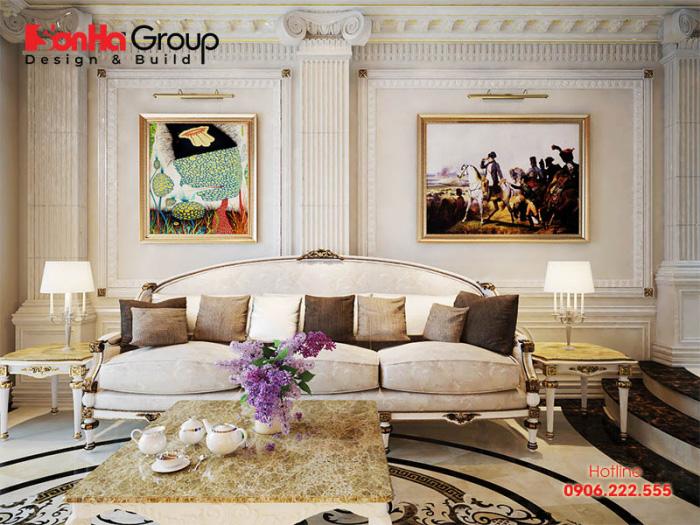 Khám phá mẫu thiết kế nội thất phòng khách xa hoa với cách trang trí cầu kỳ hút mắt
