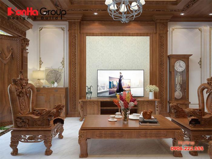 Không gian phòng khách đẹp với nội thất gỗ được bài trí bắt mắt