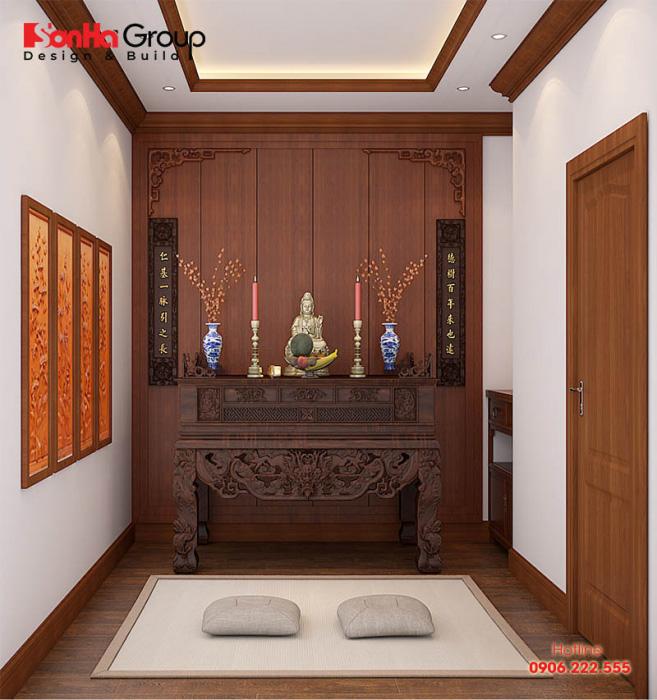 Mẫu thiết kế phòng thờ đẹp và phong thủy cho nhà phố năm 2020 Mẫu 15