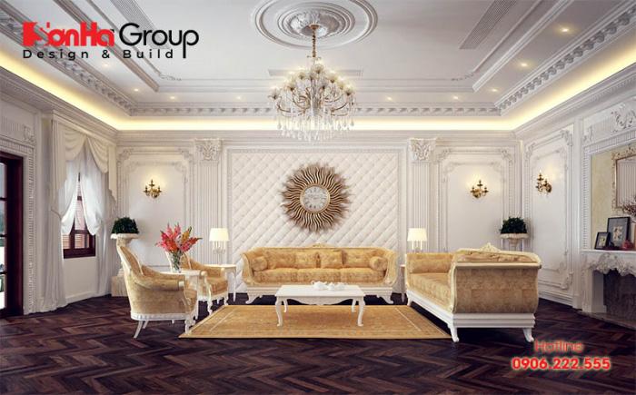 Nội thất phòng khách kiểu tân cổ điển lịch lãm với tone màu quyền quý, độc đáo mang lại cuộc sống hoàn hảo cho chủ nhân