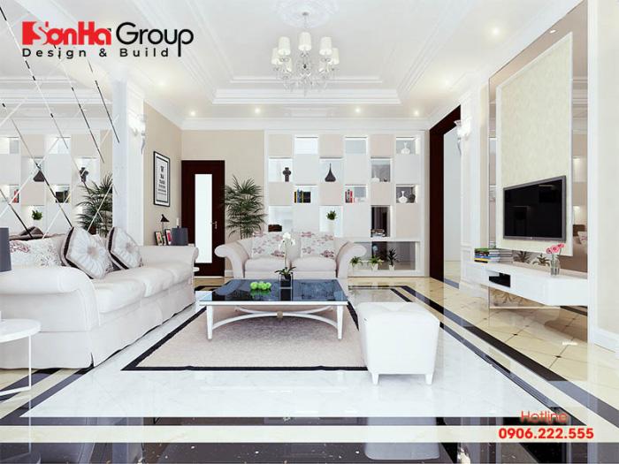 Nội thất phòng khách tân cổ điển nhẹ nhàng sang trọng tinh tế trên không gian rộng rãi
