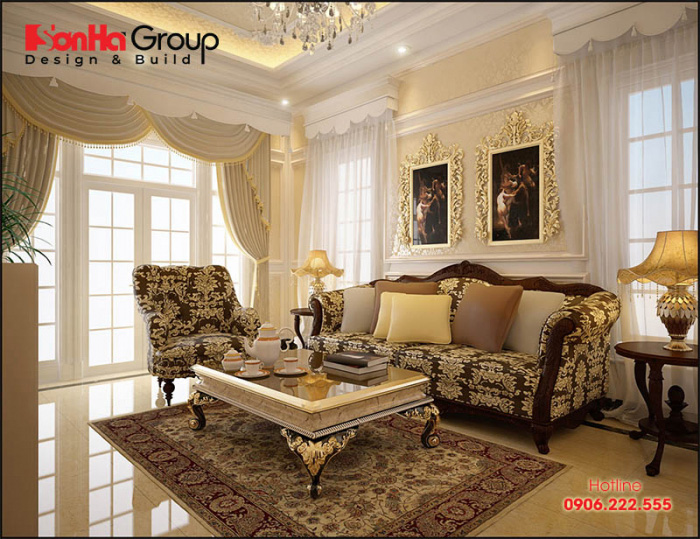 Phong cách trang trí phòng khách tân cổ điển đơn giản nhẹ nhàng mà vô cùng ấm cúng với sắc màu nổi bật