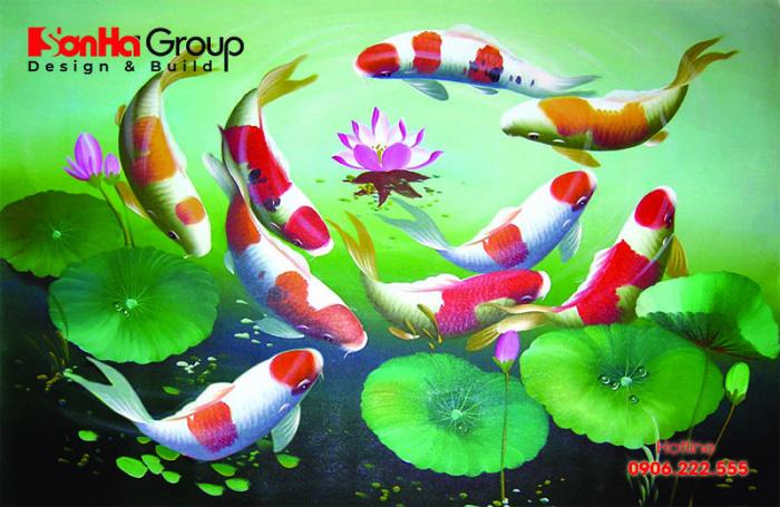 Tranh phong thủy cửu ngư quần hội - Cá chép hoa sen