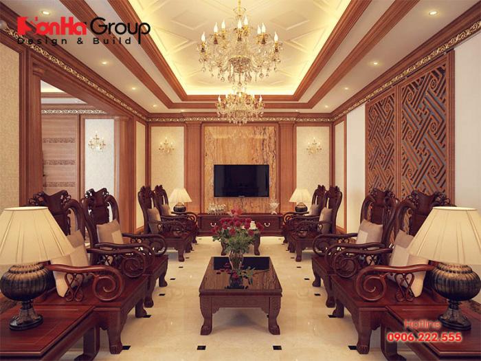 Ý tưởng thiết kế nội thất phòng khách sang trọng với không gian ngăn nắp, rộng rãi được chủ nhân hài lòng