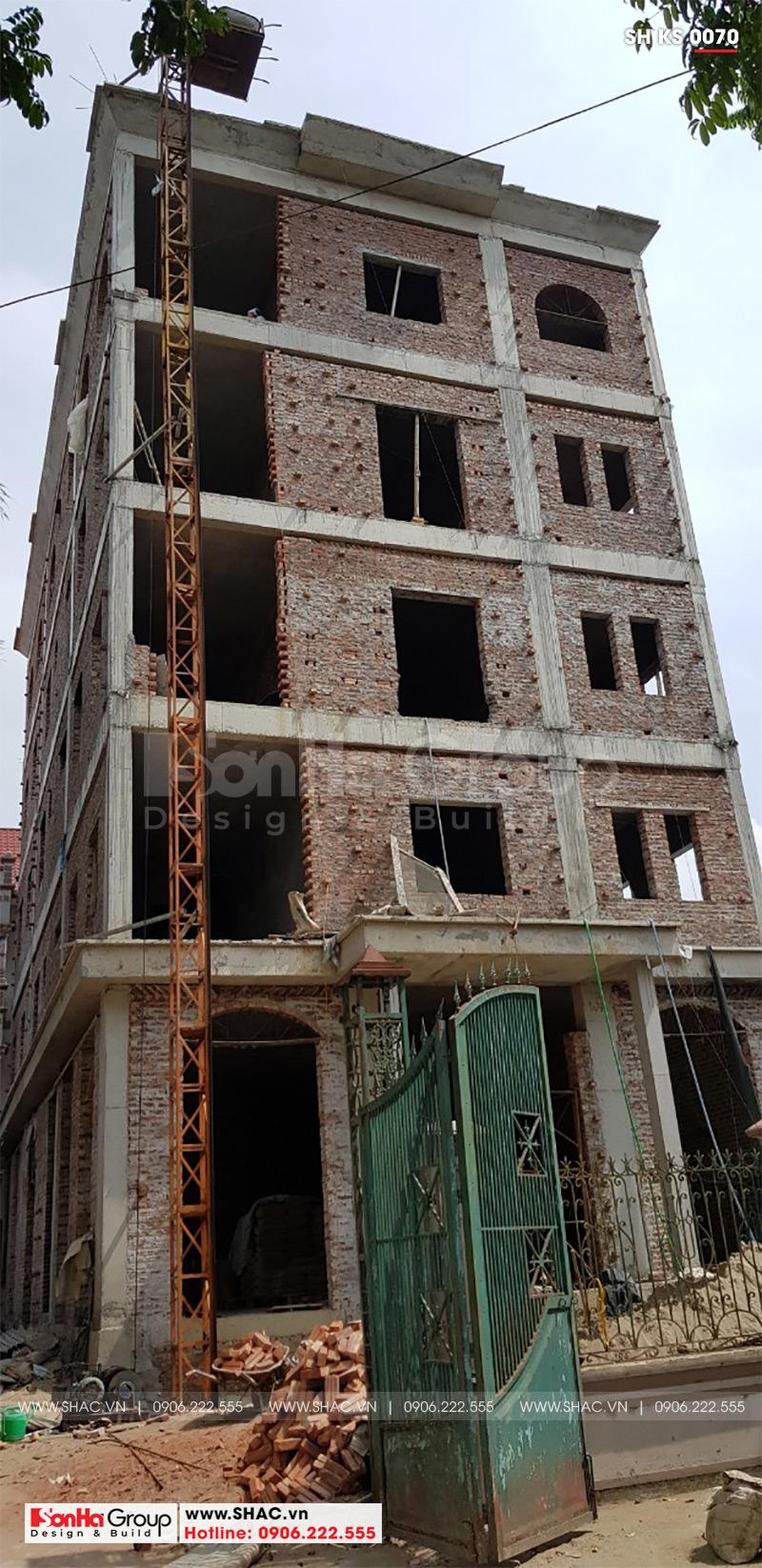 Mẫu thiết kế khách sạn tân cổ điển 5 tầng 10m x 22,5m tiêu chuẩn 3 sao tại Hà Nội – SH KS 0070 20
