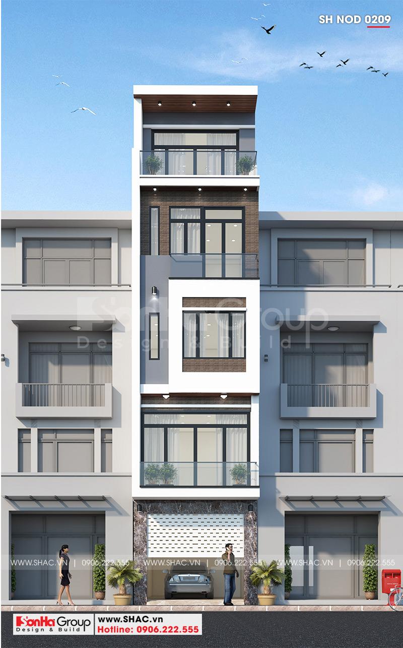 Kiến trúc mặt tiền ngôi nhà phố hiện đại đẹp 5 tầng có hình khối đơn giản nhưng cũng đủ gợi lên sự khỏe khoắn, chắc chắn