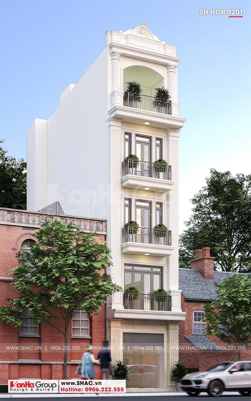 Dù ở bất cứ góc view nào kiến trúc ngôi nhà phố 5 tầng tân cổ điển – SH NOP 0201 đều cuốn hút mọi ánh nhìn
