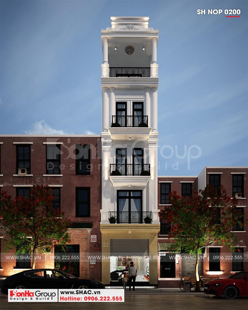 Phối cảnh kiến trúc ngoại thất mẫu nhà phố 5 tầng phong cách tân cổ điển thiết kế đẹp nhẹ nhàng và tinh tế đến từng tiểu tiết tại Hải Phòng - SH NOP 0200
