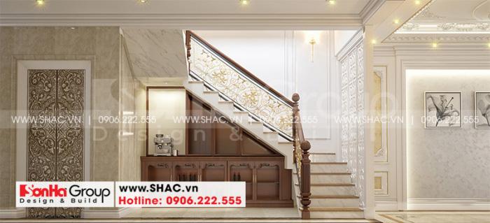 Nội thất cầu thang và hành lang thang được thiết kế an toàn cho ngôi nhà ống 5 tầng