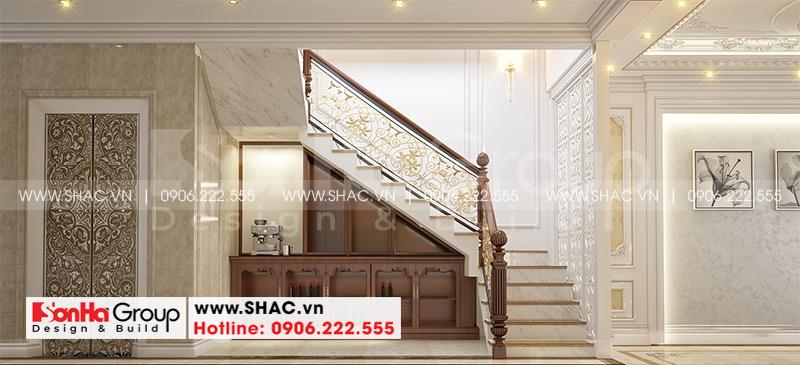 Mẫu nhà ống tân cổ điển 5 tầng có gara ôtô trong nhà tại Hà Nội - SH NOP 0199 22
