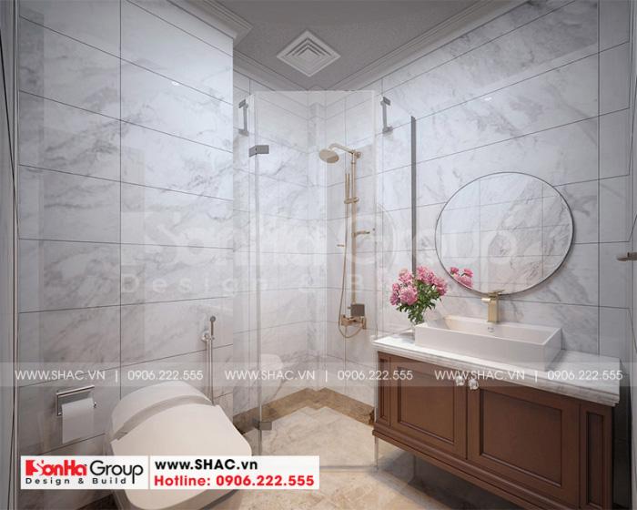 Mẫu phòng tắm, vệ sinh cao cấp dành cho các phòng ngủ của nhà ống được bố trí ngăn nắp