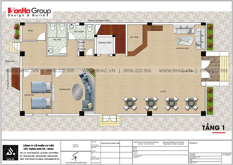 Mẫu thiết kế khách sạn tân cổ điển 5 tầng 10m x 22,5m tiêu chuẩn 3 sao tại Hà Nội – SH KS 0070 16