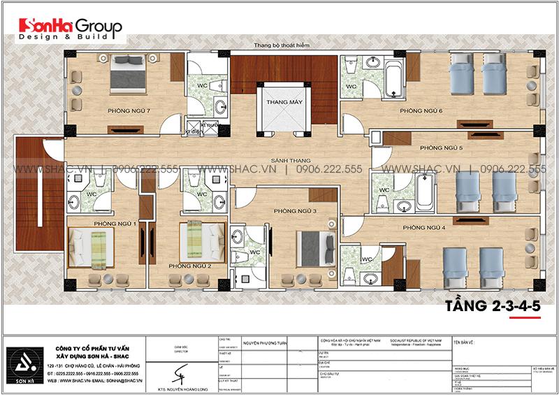 Mẫu thiết kế khách sạn tân cổ điển 5 tầng 10m x 22,5m tiêu chuẩn 3 sao tại Hà Nội – SH KS 0070 17
