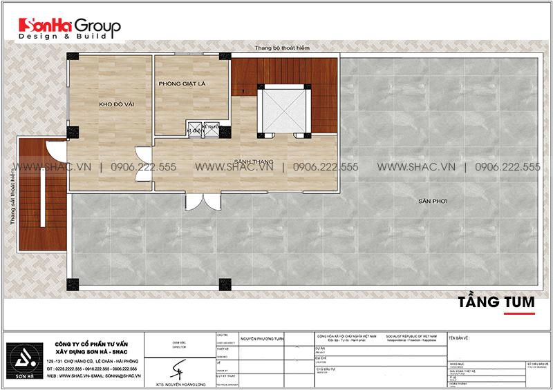 Mẫu thiết kế khách sạn tân cổ điển 5 tầng 10m x 22,5m tiêu chuẩn 3 sao tại Hà Nội – SH KS 0070 18