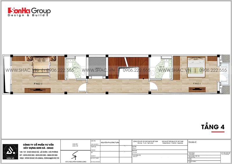 Mẫu nhà ống tân cổ điển 5 tầng có gara ôtô trong nhà tại Hà Nội - SH NOP 0199 7