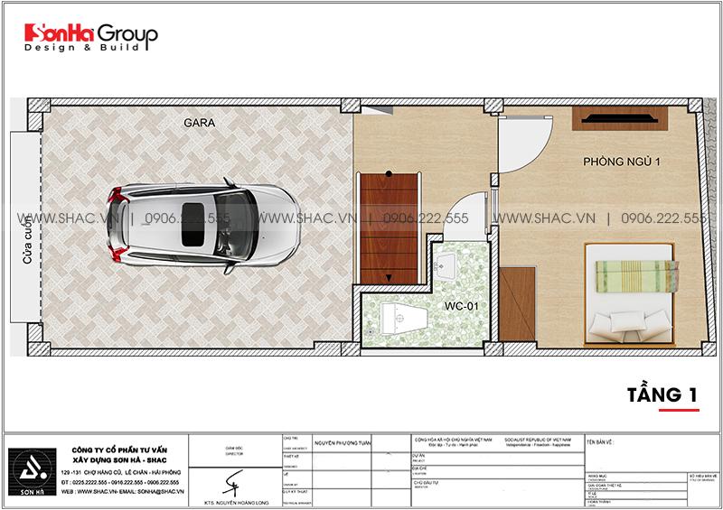 Thiết kế nhà ống 5 tầng 4m x 10,6m phong cách hiện đại có gara ô tô tại Hà Nội – SH NOD 0209 2
