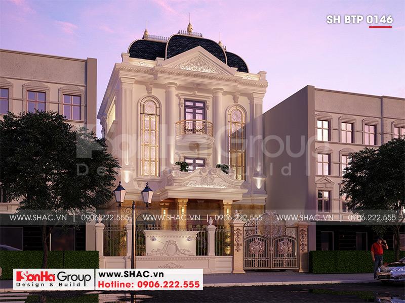 Biệt thự 3 tầng phong cách tân cổ điển mặt tiền 9m3 tại Hải Phòng - SH BTP 0146 2