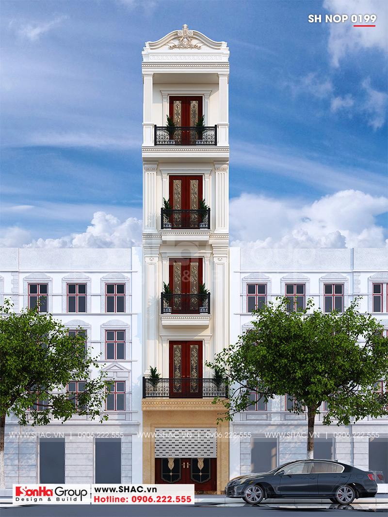 Phối cảnh kiến trúc mặt tiền 3m4 mẫu thiết kế nhà ống 5 tầng kiểu tân cổ điển sang trọng tại quận Thanh Xuân – Hà Nội