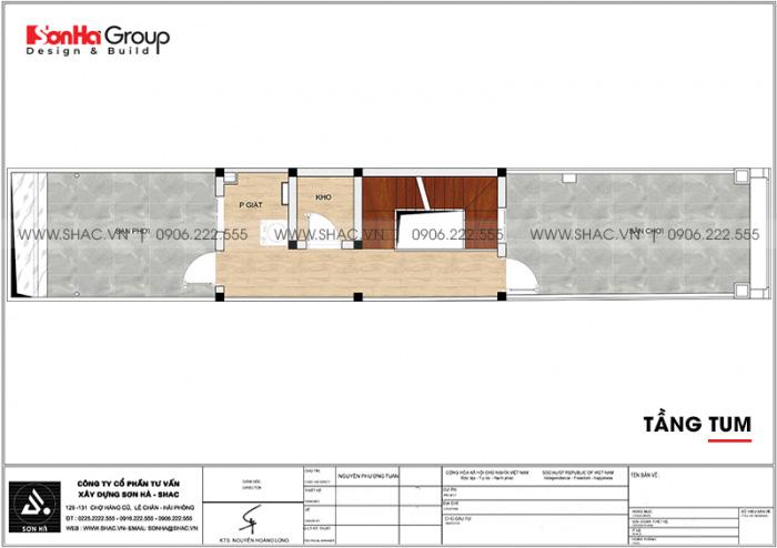 Bản vẽ công năng tầng tum nhà ống tân cổ điển mặt tiền 3m4 dài 19,1m tại Hà Nội
