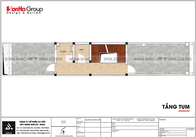 Mẫu nhà ống tân cổ điển 5 tầng có gara ôtô trong nhà tại Hà Nội - SH NOP 0199 8