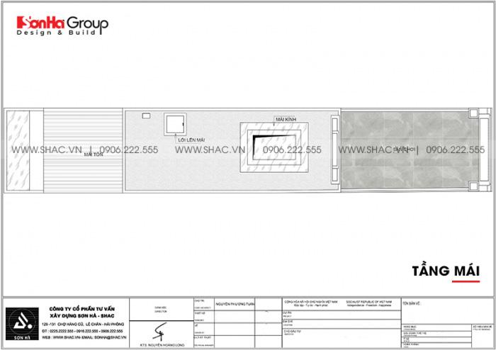 Bản vẽ công năng tầng mái nhà ống tân cổ điển mặt tiền 3m4 dài 19,1m tại Hà Nội