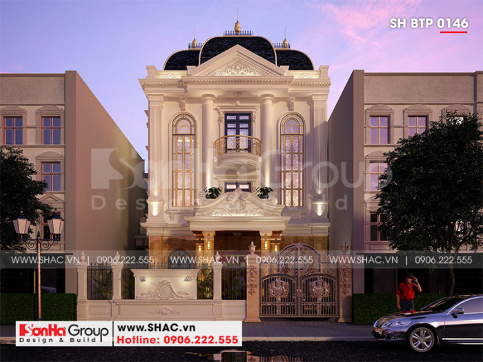 Thiết kế biệt thự đẹp kiến trúc tân cổ điển 3 tầng tại Hải Phòng